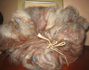 Alpaca Batt with Hand Dyed Silk Noil, Alpaca Spinning Fiber, Natural Brown and Beige Alpaca Batt, Warm Sturdy Fibers Blue Dots of Silk Noil