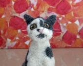 RESERVED-Custom order for a miniature needle felted grey and white cat from photos, Custom pet portrait, Cat memorial