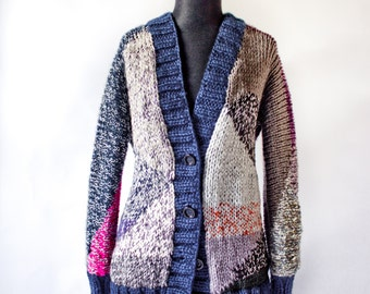 On SALE OOAK GEO hand knit cardigan  nr19 Medium oversized in dark blue and multicolour yarns vneck