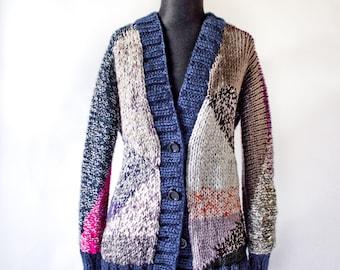 OOAK GEO hand knit cardigan  nr19 Medium oversized in dark blue and multicolour yarns vneck