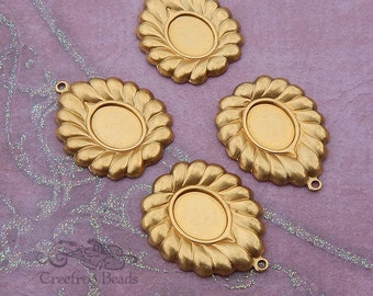 Vintage Brass Cameo Setting, Stamping, Mount or Frame for 8x10 Stone - Decorative Bezel or Ornament (4 pc)