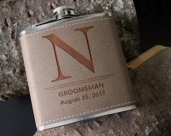 Flask | Customizable MONOGRAM design, multiple quantities for groomsman gift