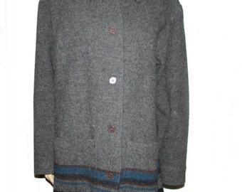 LL Bean wool blanket coat jacket size small