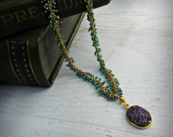 Apatite and Druzy Gemstone 24k Gold Necklace - BOHO Chic - Apatite and Druzy - Natural Gems - Haute Fashion - READY to Ship