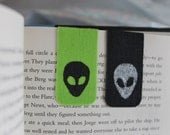 Set of 2 Small Alien Magnetic Bookmarks, Black and Green