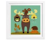 187 Moose Wall Art - Moose and Beehive Wall Art - Woodland Nursery Decor - Woodland Animal Art - Moose Print - Moose Decor - Owl Print