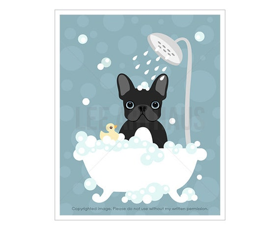22F Bath Art Print - Black French Bulldog in Bathtub Wall Art - Pastel Blue Nursery Decor - Dog Nursery Art - French Bulldog Dog Prints