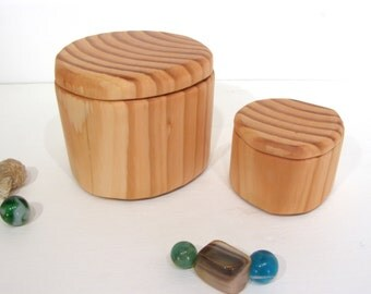 Douglas Fir Set of Two Wooden Boxes, reclaimed wood, engagement ring box, nesting boxes, gift for groom, ring bearer box, wooden earring box