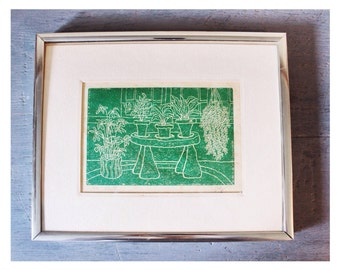 vintage etching - house plants hand pulled print