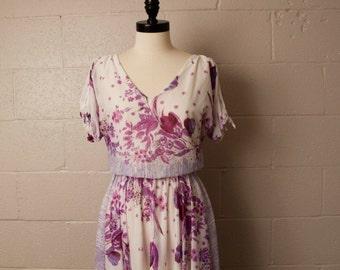 Vintage 1970's Lavender Floral Elastic Waist Sheer Dress M
