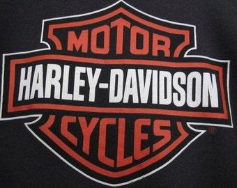 vintage 1980s black HARLEY davidson sweatshirt LOGO two sided U S A biker shirt motorcycle sweater pullover SUPER soft oversize X L