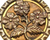 XL 1800s metal BUTTON, Victorian Flowers in gold & copper, 1.5""