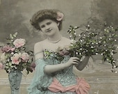 Dancer, Antique French postcard, Lady with mistletoe, RPPC, paper ephemera.