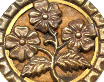 """XL 1800s metal BUTTON, Victorian Flowers in gold & copper, 1.5"""""""