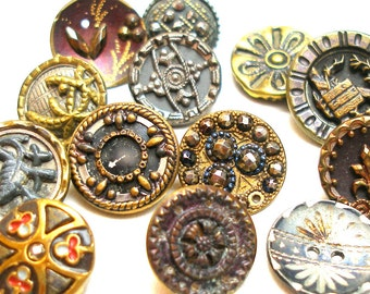 13 Antique BUTTONS, Victorian metal shabby chic picture buttons.