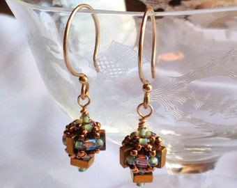 Hand Beaded bead earrings, with 4x2 Gold Hematite squares and 14kt gold filled ear wires