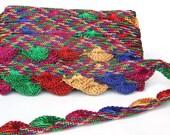 Metallic Rainbow Sari Trim, Crocheted Lace Trim, Indian Trim, 9 meters, Multi colored Lace crochet, Saree Lace Trim, Gypsy, Hippy, Boho
