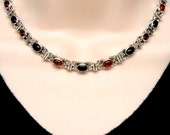Vintage Amber & Onyx Sterling Silver Chain Slave Collar with Black Anodized Titanium Captive Segment Ring Locking Clasp