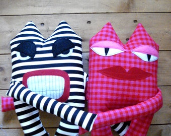 Mr. Angry and Miss Lulu - couple love toy plush