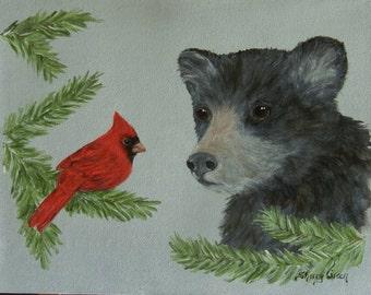 Black Bear Cub & Cardinal, original acrylic painting
