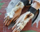 PAIR of coyote paw legskin and deerskin handflowers bracelets belly dance tribal fusion costume