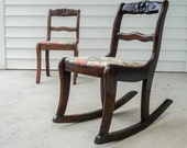 Sister chairs - vintage 1920s children's chairs - recovered with Waverly fabric