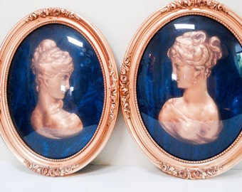 Beautiful cameos mounted in frames with convex glass