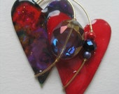 Signed Stephen Dalton Modernist Abstract Red Purple Heart Pin Pendant Sculpture Pearl