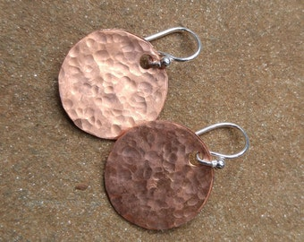 Hammered Copper Disc Earrings on Sterling Wires