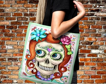 "Sugar Skull Tote Bag Over Sized 18"" x 18""   Beach Bag -Shopping Bag-Handbag-Everything Bag ""Miss Alex"" Design"