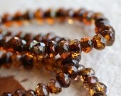 10% off GOLDEN AMBER BITS .. 30 Premium Picasso Czech Rondelle Glass Beads 3x5mm (5033-st)