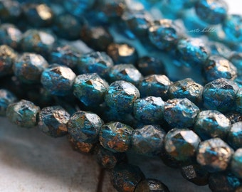 CAPRI PEBBLES .. 25 Premium Picasso Czech Glass Beads 6mm (4326-st)