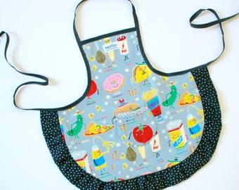 Apron Art Smock for children Fun Foods print