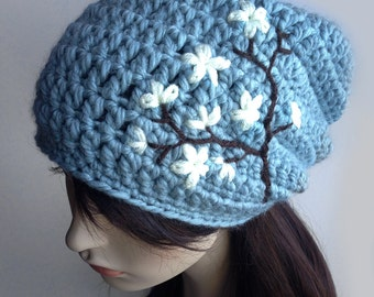Womens Slouchy Hat with Cherry Blossom, Slouchy Beanie, Dread Hat, Slouch Hat, Womens Wool Hat, Light Blue, Cream, Brown, MADE TO ORDER