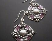 ON SALE Enamel Flower Earrings, Silver Flower Earrings, Purple Earrings, Big Bold Earrings, Big Dangle Earrings, Vintage Style, Art Nouveau