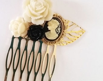 ON SALE Black Lady Cameo Small Cluster Hair Comb - Fascinator Kitschy Cool Offbeat Wedding Bride Traditional