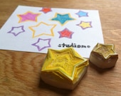 hollow star hand carved rubber stamp set, handmade rubber stamps, large and small stars