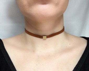 Brown Leather Choker with brass bead Necklace