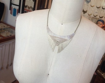 Leather Fringe and abstract statement necklace
