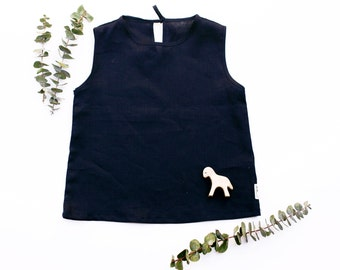 Navy kids linen top