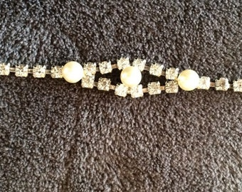 Vintage rhinestone and faux pearl bracelet