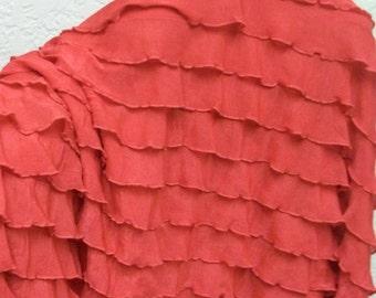 """1"""" Coral Reef Orange Ruffle Nylon Spandex Stretch Fabric BTY"""
