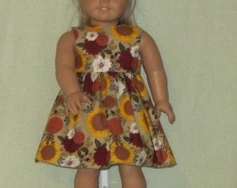 American Girl 18 inch Doll Dress Fall Flowers
