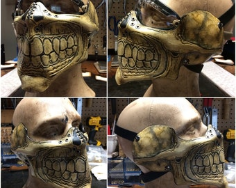 Leather skull half mask with ear protection for bikers airsoft or costume