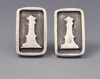 Success- Sterling Silver Chess Game Affirmation Stud Post Wire Earrings