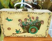 Hand Painted Folk Art Wood Purse Flower Cart By Madge Birds Flowers Art Box Display Piece
