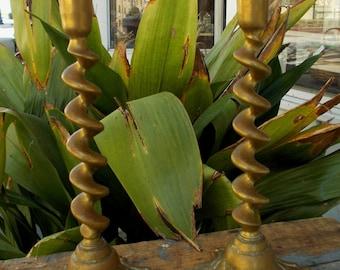 Mid Century French Inspired  Brass Twist Design Pair Candlesticks Boho Chic Home Decor Lighting Romatic Goth Style