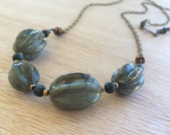 N328 Green Picasso Jasper Necklace