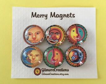 "Set of Magnets   Fridge Magnets  Glass Magnets  ""Celestial Suns"""