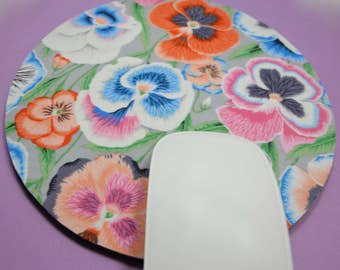 Buy 2 FREE SHIPPING Special!!   Mouse Pad, Fabric Mousepad   Pansies